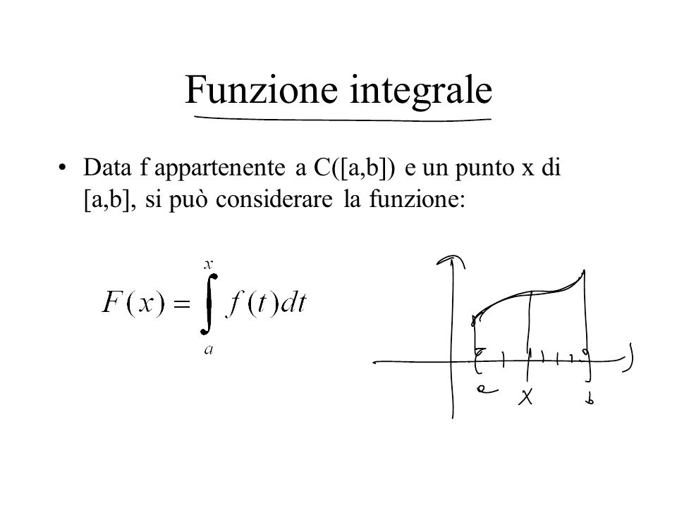 Funzione integrale Data f appartenente a C([a,b]) e un punto x di [a,b], si può considerare la funzione: